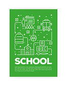 School Concept Line Style Cover Design for Annual Report, Flyer, Brochure.