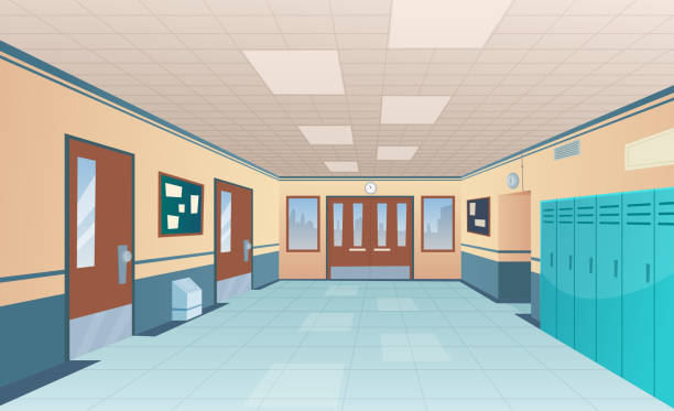 School corridor. Bright college interior of big hallway with doors classroom with desks without kids vector cartoon picture School corridor. Bright college interior of big hallway with doors classroom with desks without kids vector cartoon picture. Interior of corridor hallway, floor and entrance highschool illustration no people stock illustrations