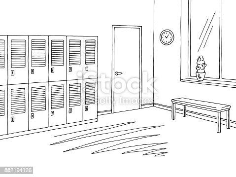 School corridor lobby graphic black white interior sketch illustration vector