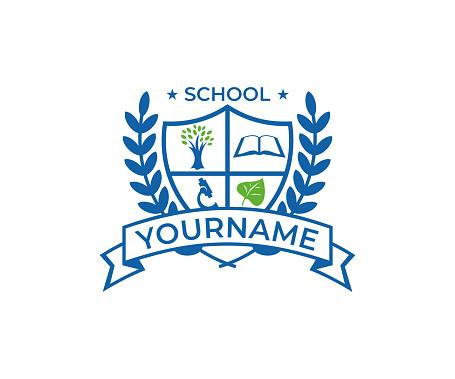 School crest, design. Education vector design. University emblem illustration