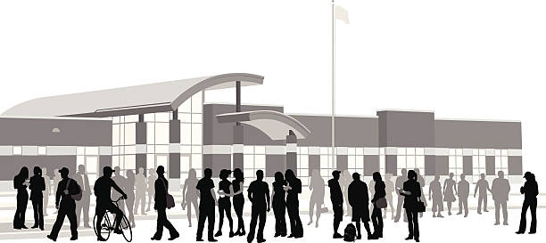 school crowd vector silhouette - high school stock illustrations, clip art, cartoons, & icons