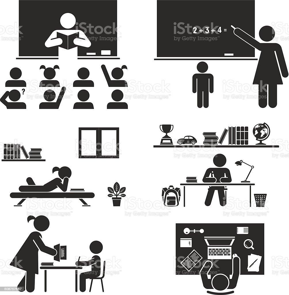 School days. Pictogram icon set. School children. vector art illustration