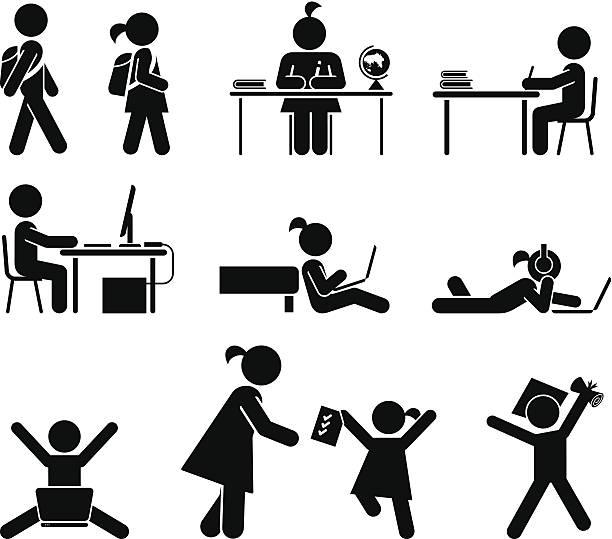 Escuela días.  Pictograma icono conjunto.  Escuela los niños. - ilustración de arte vectorial