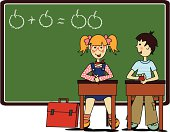 Illustration of a little girl and a little boy in primary school.