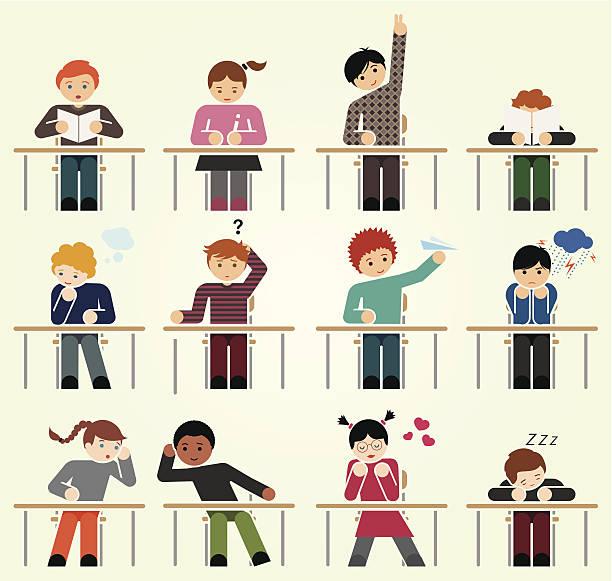 ilustrações, clipart, desenhos animados e ícones de escola dias - aula de redação
