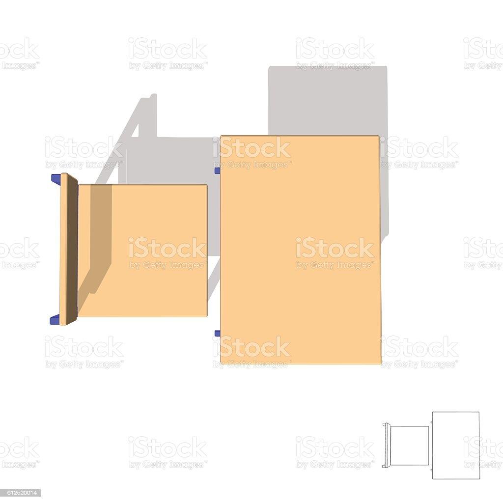 School Desk. 3d Vector Illustration.Top View. Royalty Free School Desk 3d