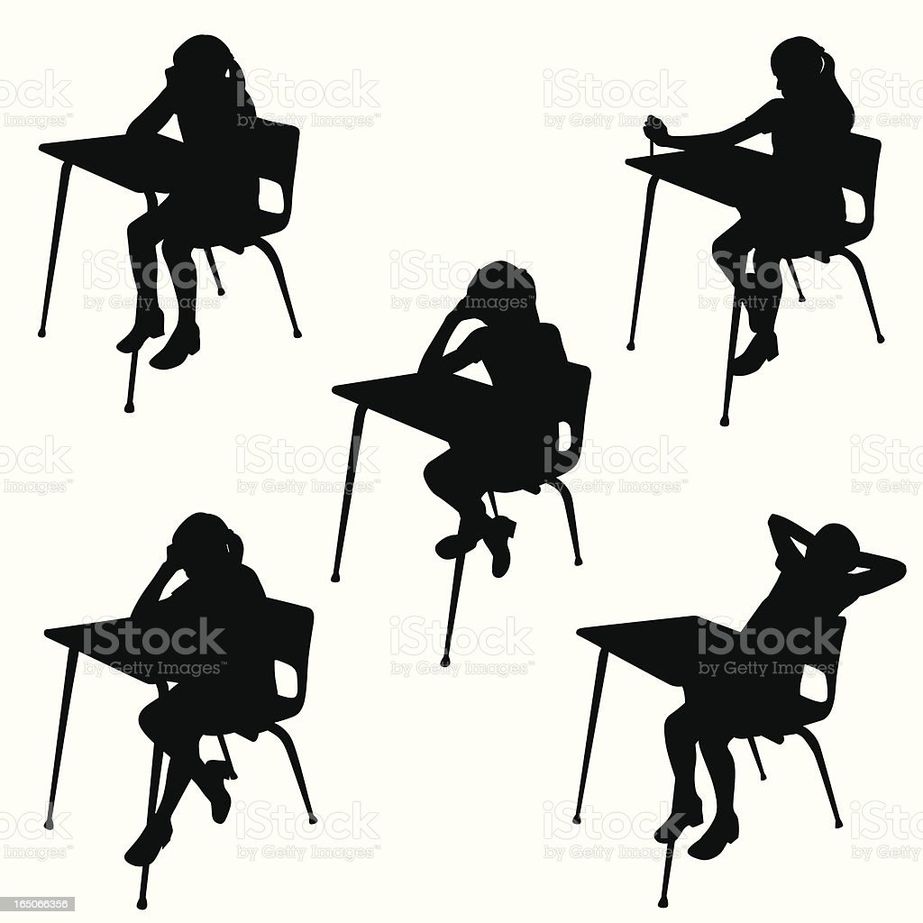School Desk Blues Vector Silhouette vector art illustration