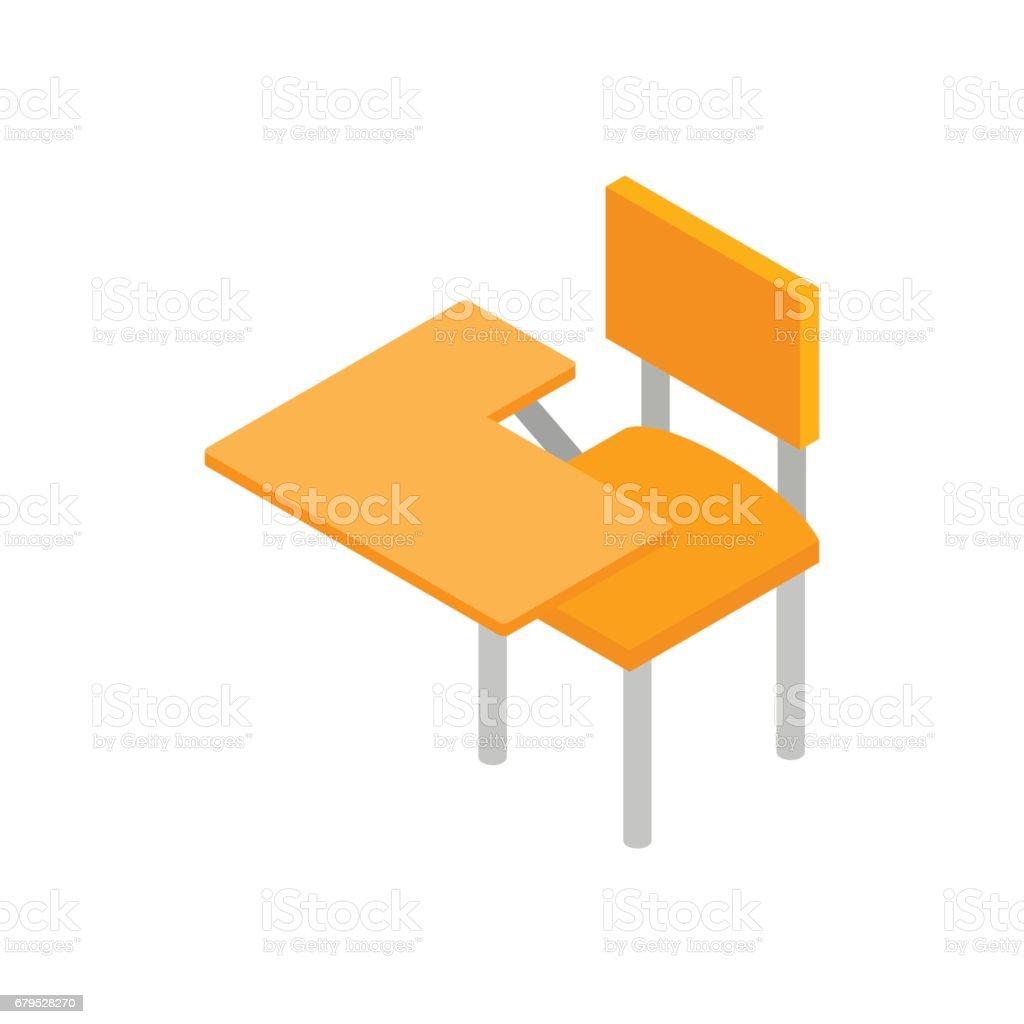 School desk icon, isometric 3d style