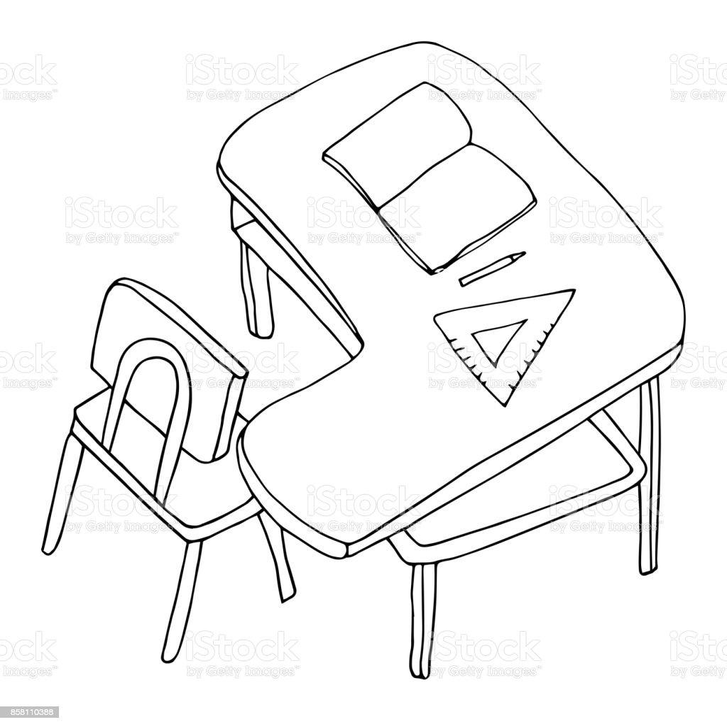Schreibtisch Mit Stuhl Offenes Buch Stift Und Lineal Dreieck