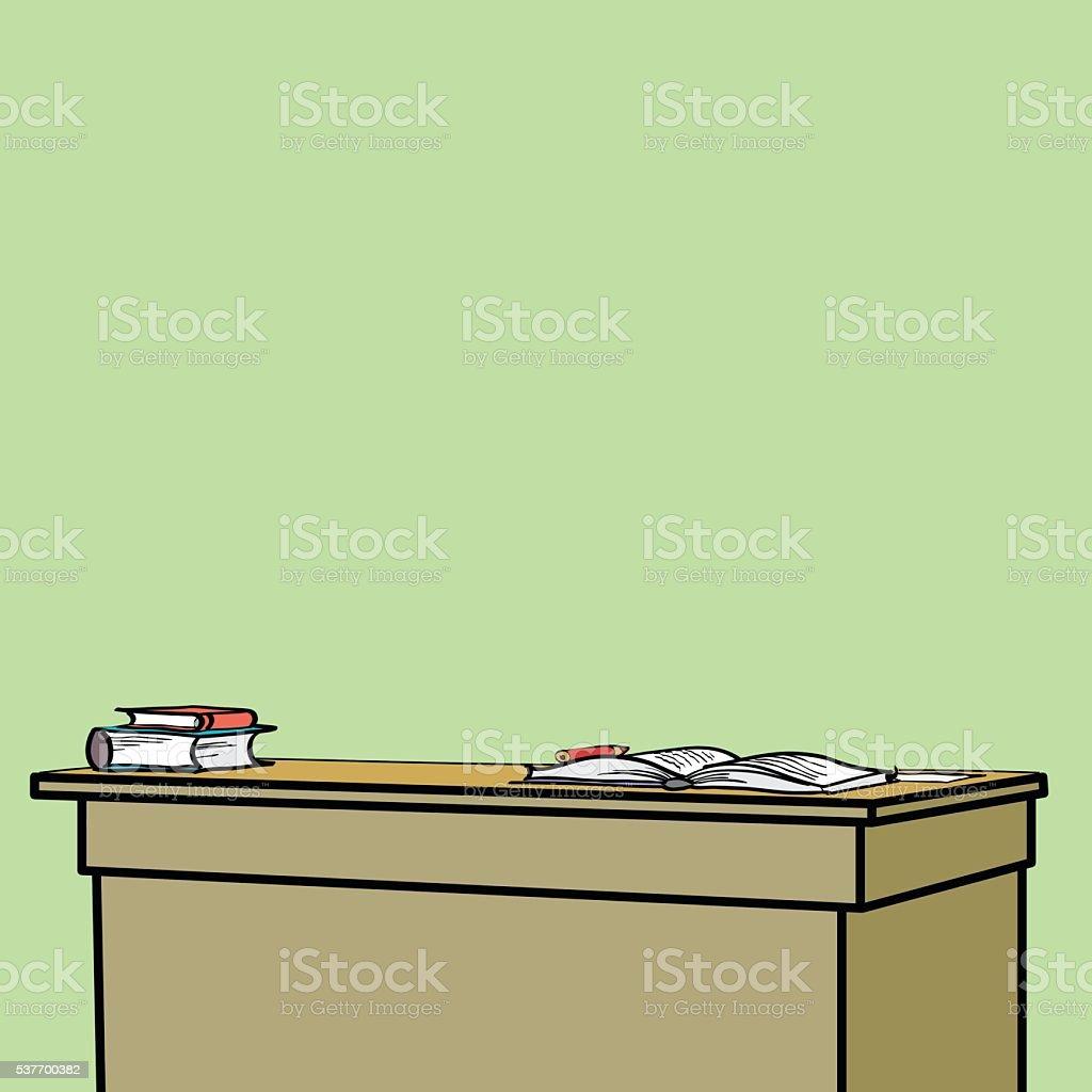 School Desk with textbooks vector art illustration