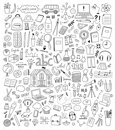 School doodle illustration set. Back to school elements and icons. Children education hand drawn drawings