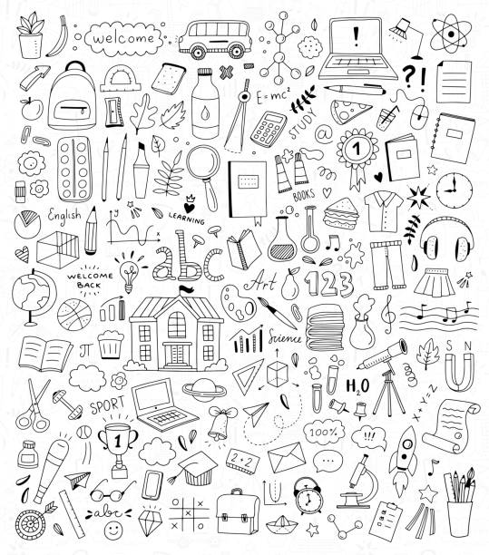 illustrazioni stock, clip art, cartoni animati e icone di tendenza di school doodle illustration set. back to school elements and icons. children education hand drawn drawings - scarabocchi