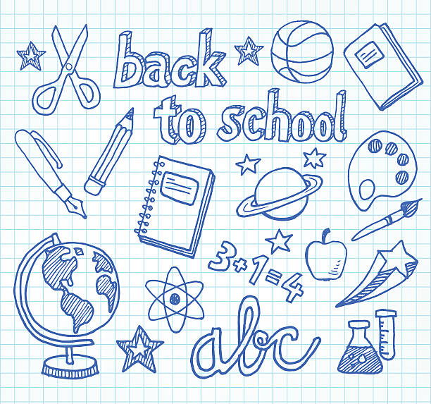 School Doodles - Back To School Back to school - doodles and sketches related to school, education, students. elementary age stock illustrations