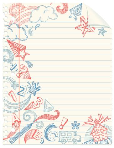 School Doodles Notebook Paper Stock Illustration ...