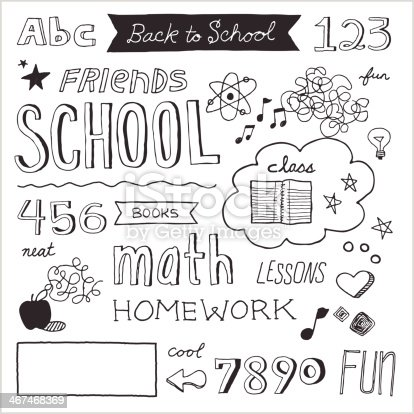 School-themed text and graphics in hand-drawn doodle style. Easy-to-edit vector elements.