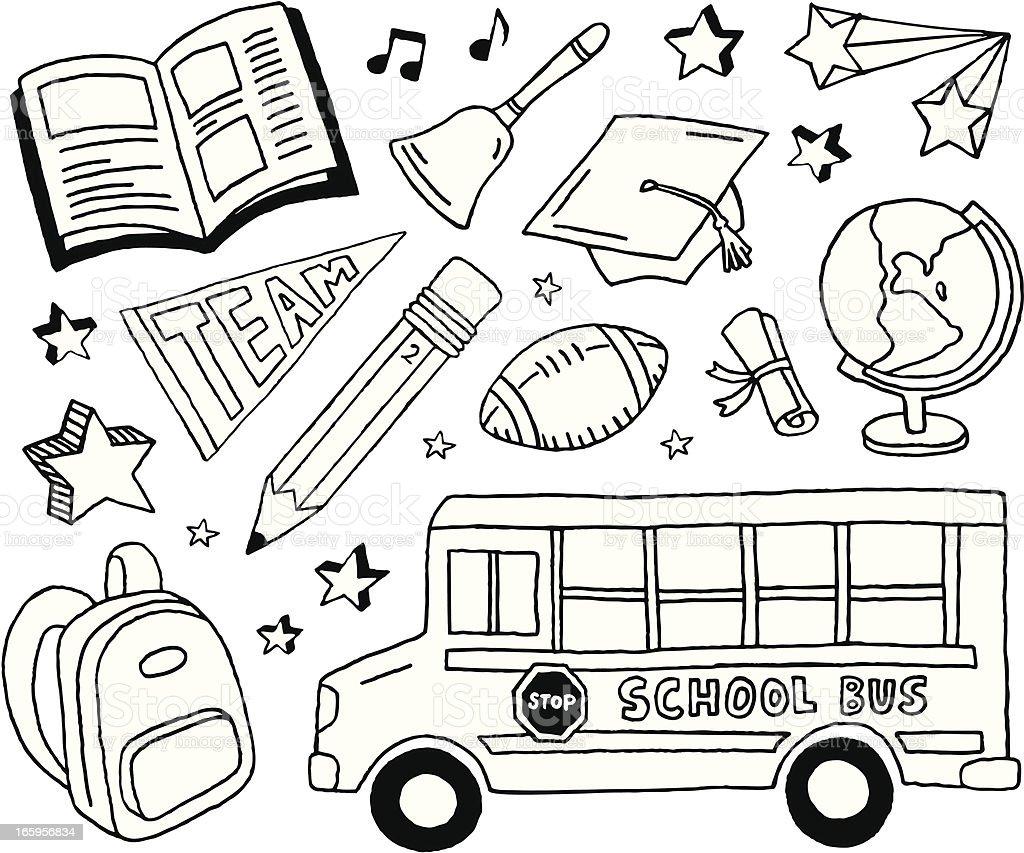 School Doodles vector art illustration