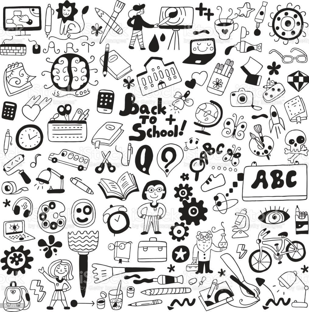 school education , art tools - cartoons set vector art illustration
