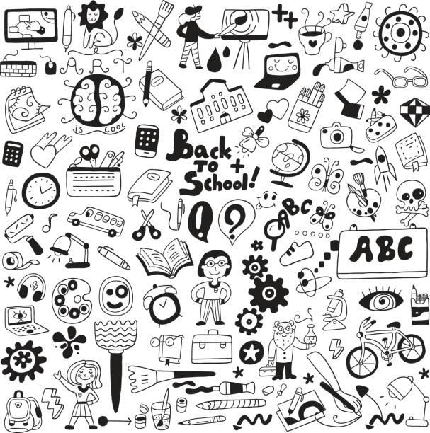 school education , art tools - cartoons set - hobby stock illustrations