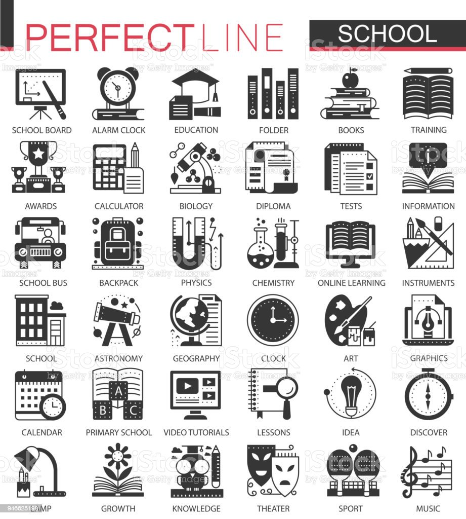 School Education Black Mini Concept Icons And Infographic Symbols