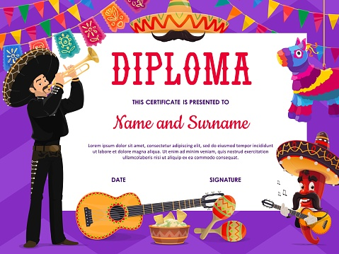 School education diploma with mariachi musician