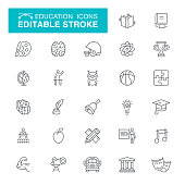 School Building, Science, University, Museum, Seminar, Editable Stroke Icon Set