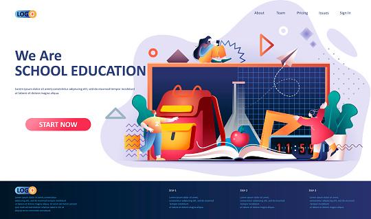 School education flat landing page template.