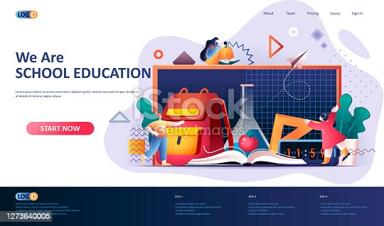 istock School education flat landing page template. 1273640005