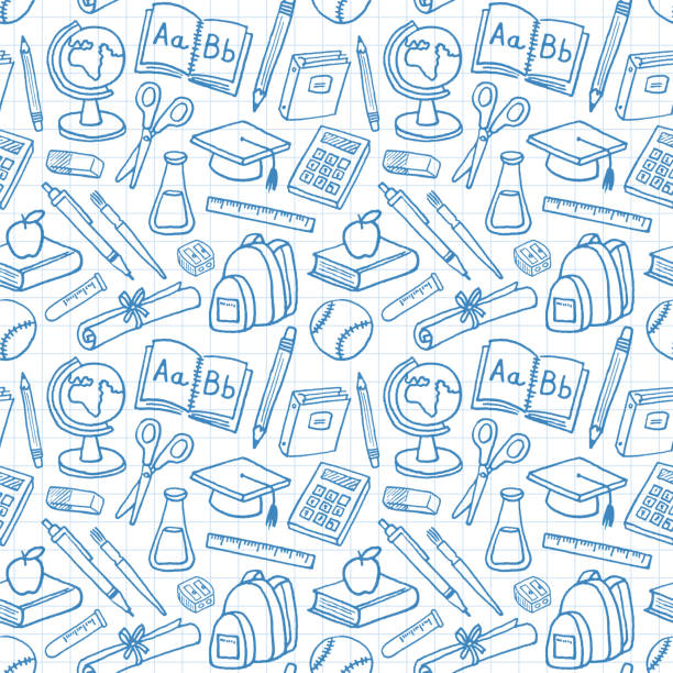 École éducation Graduation Seamless Pattern - Illustration vectorielle