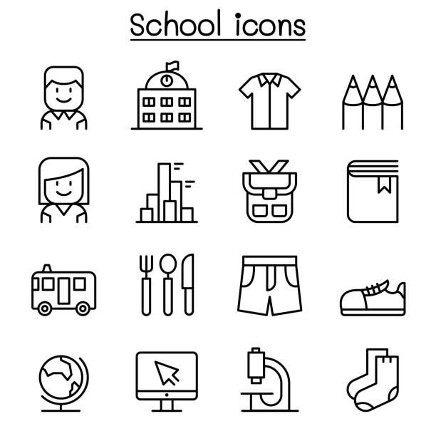stockillustraties, clipart, cartoons en iconen met schoolonderwijs & pictogrammenset in dunne lijnstijl - schooluniform