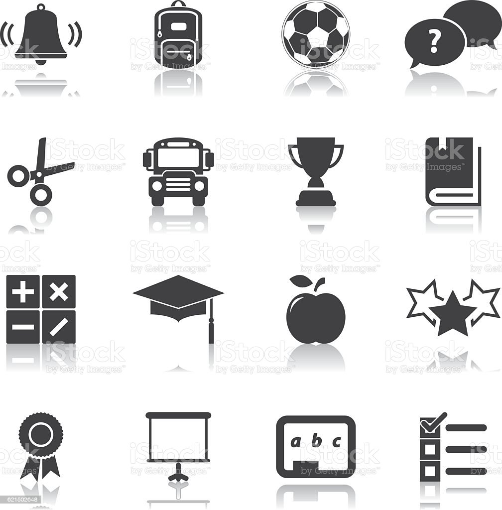 School Education Icon Set Lizenzfreies school education icon set stock vektor art und mehr bilder von apfel