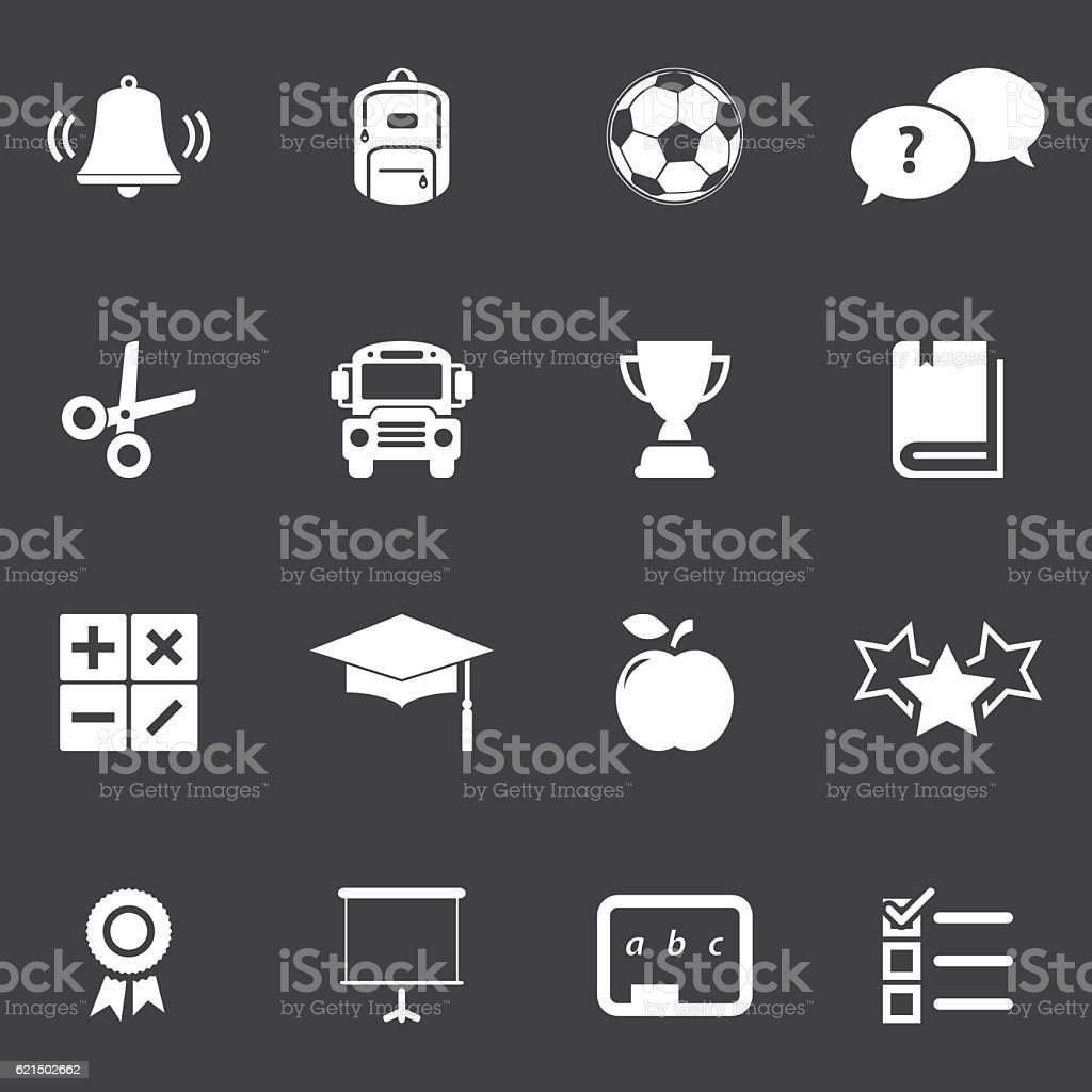 School Education Icon Set school education icon set – cliparts vectoriels et plus d'images de bibliothèque libre de droits