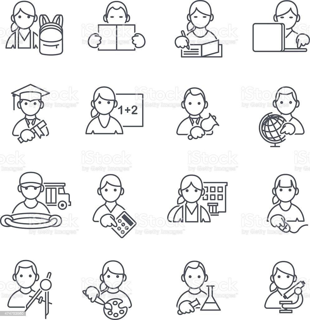 School Education icons thin line. vector art illustration