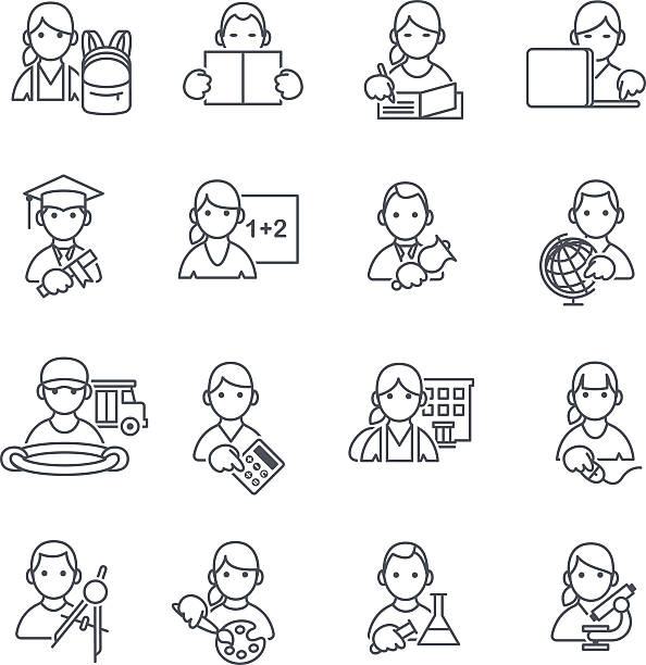 School Education icons thin line. vector art illustration