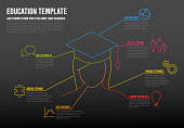 School education Infographic template made from colorful lines and icons - dark version