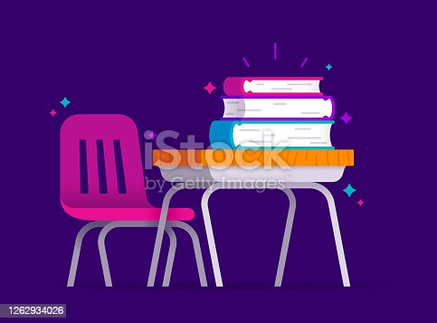 istock School Education Learning Desk with Books 1262934026