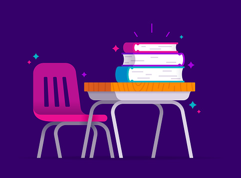 School Education Learning Desk with Books