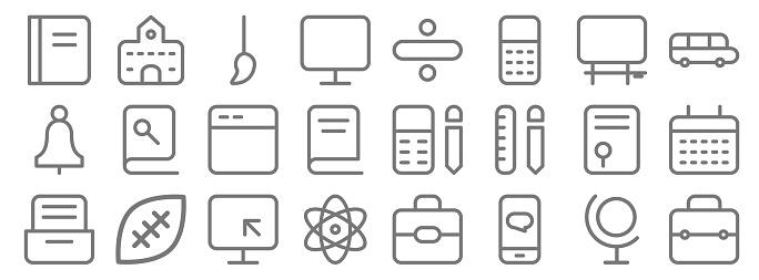 school education line icons. linear set. quality vector line set such as briefcase, chat, physics, cabinet, graduation, application, school bus, divide, building