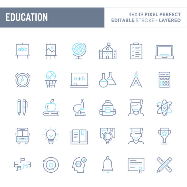 school & education minimal vector icon set (eps 10) - high school sports stock illustrations