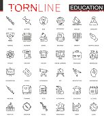 School education thin torn line web icons set. Outline dashed stroke icon design