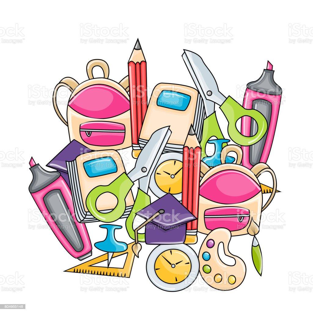 学校の要素クリップアートが漫画のスタイルの設定手はベクトル