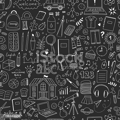 istock School elements seamless pattern. Vector background with school objects and illustrations 1156440056