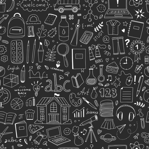 illustrations, cliparts, dessins animés et icônes de éléments de l'école modèle sans couture. fond de vecteur avec des objets et des illustrations d'école - reprise des cours