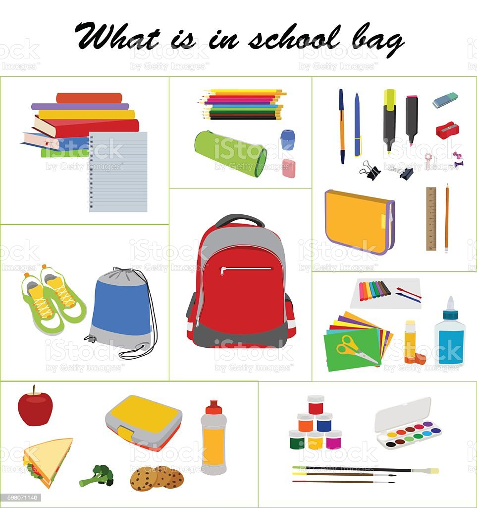 School essentials flat vector set vector art illustration