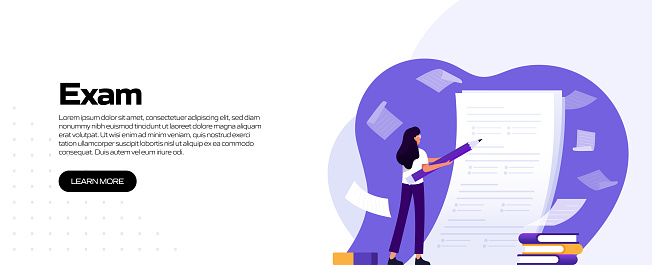 School, Exam Related Vector Illustration for Landing Page Template, Website Banner, Advertisement and Marketing Material, Online Advertising, Business Presentation etc.
