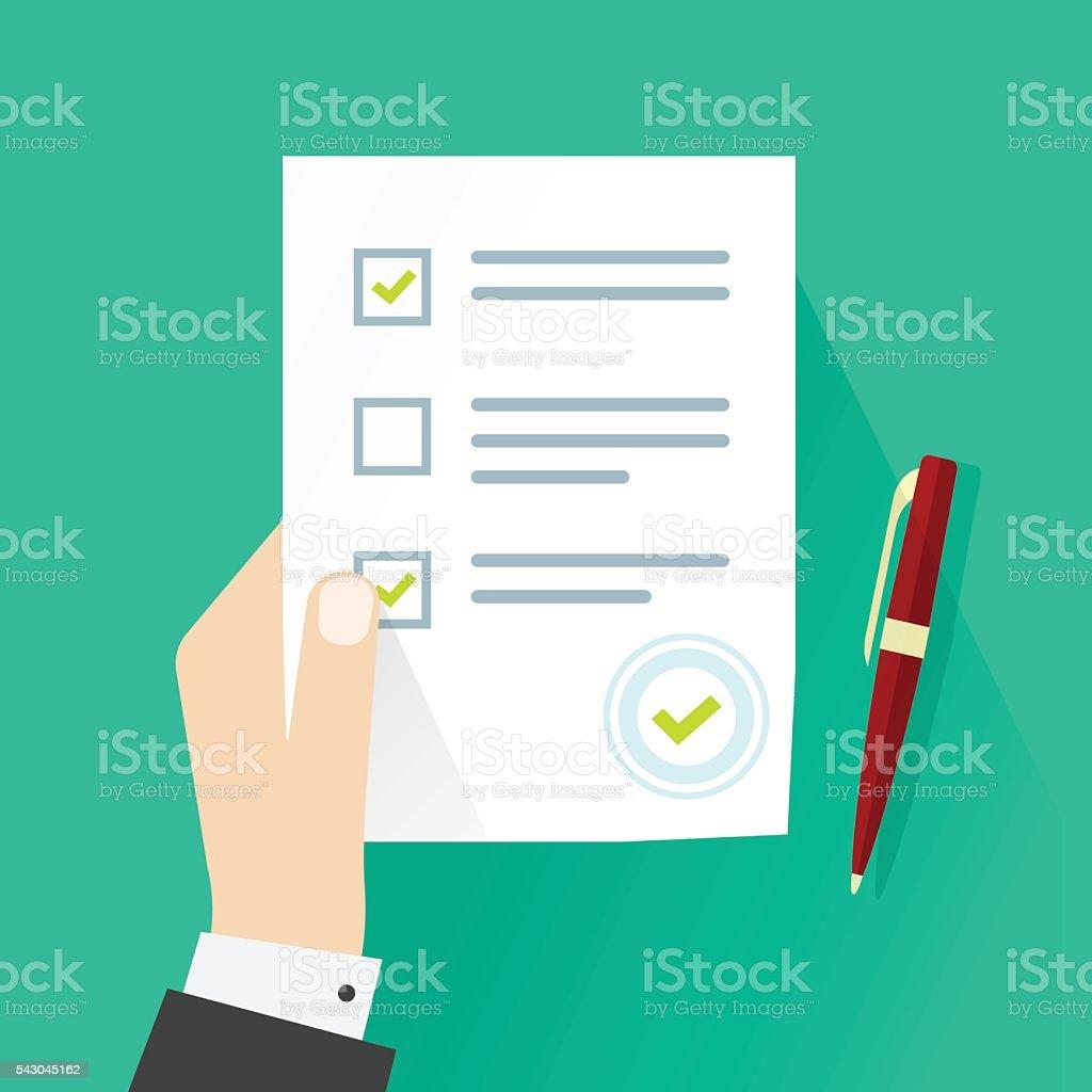 School exam survey result, student hand holding examination quiz form vector art illustration