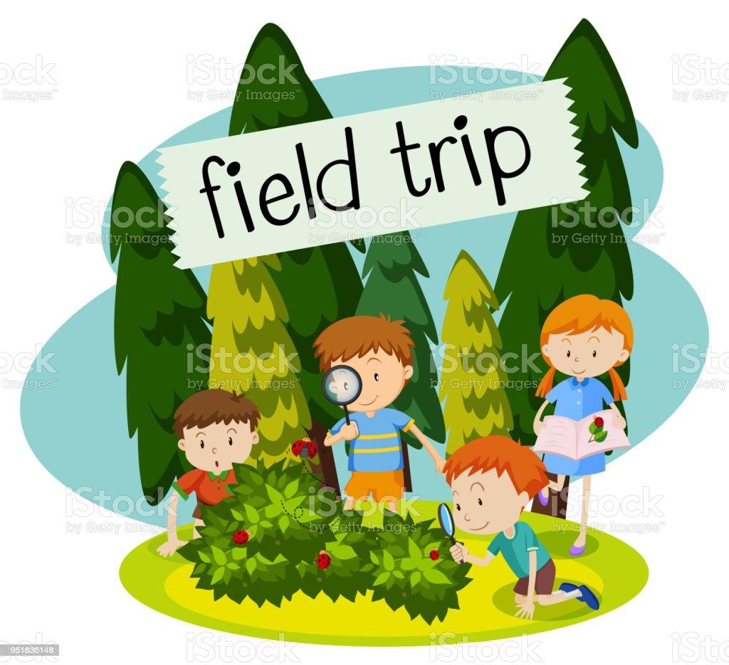 自然の中で学校の遠足 - アメリカ合衆国のベクターアート素材や画像を