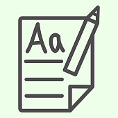 School file and pencil line icon. Studying paper sheet with first letters learning outline style pictogram on white background. Education signs for mobile concept and web design. Vector graphics