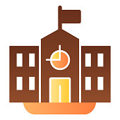 School flat icon. Classic building with clock and flag. Education vector design concept, gradient style pictogram on white background
