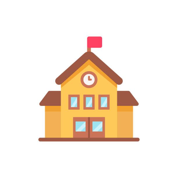 illustrazioni stock, clip art, cartoni animati e icone di tendenza di icona di school flat. pixel perfetto. per dispositivi mobili e web. - scuola