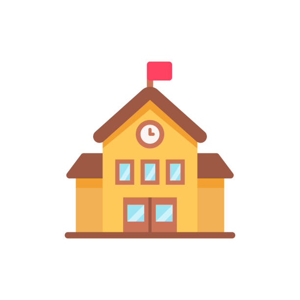 School Flat Icon. Pixel Perfect. For Mobile and Web. Flat Icon. schoolhouse stock illustrations